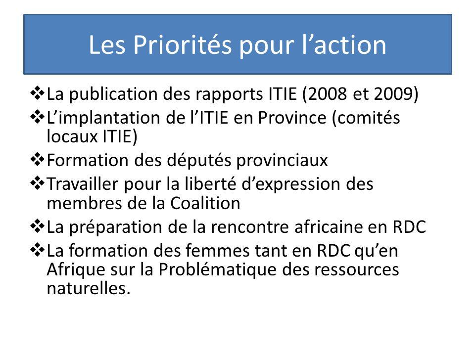 Les Priorités pour laction La publication des rapports ITIE (2008 et 2009) Limplantation de lITIE en Province (comités locaux ITIE) Formation des dépu