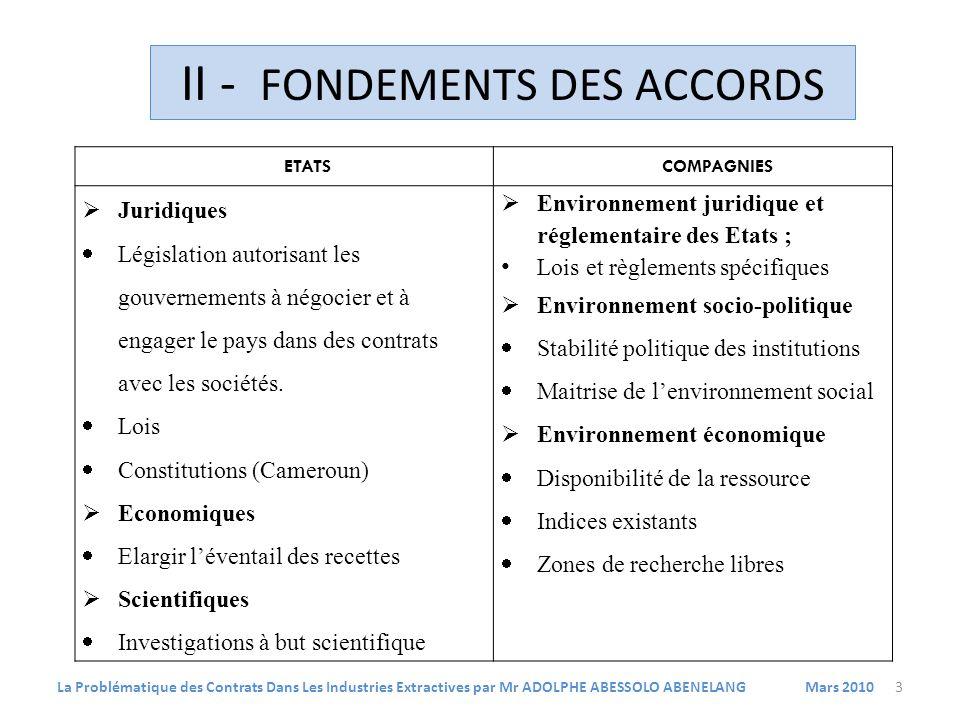 ETATSCOMPAGNIES Juridiques Législation autorisant les gouvernements à négocier et à engager le pays dans des contrats avec les sociétés.
