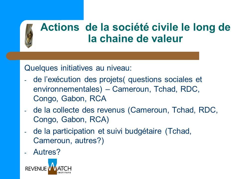 Actions de la société civile le long de la chaine de valeur Quelques initiatives au niveau: - de lexécution des projets( questions sociales et environ