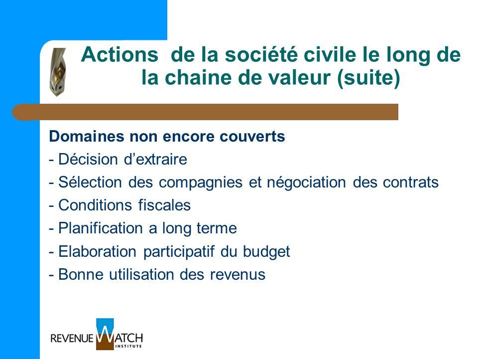 Actions de la société civile le long de la chaine de valeur (suite) Domaines non encore couverts - Décision dextraire - Sélection des compagnies et né