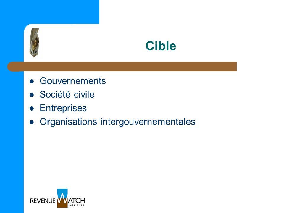 Cible Gouvernements Société civile Entreprises Organisations intergouvernementales