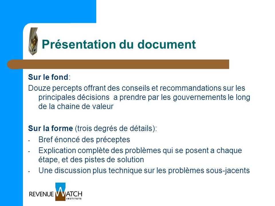 Présentation du document Sur le fond: Douze percepts offrant des conseils et recommandations sur les principales décisions a prendre par les gouvernem