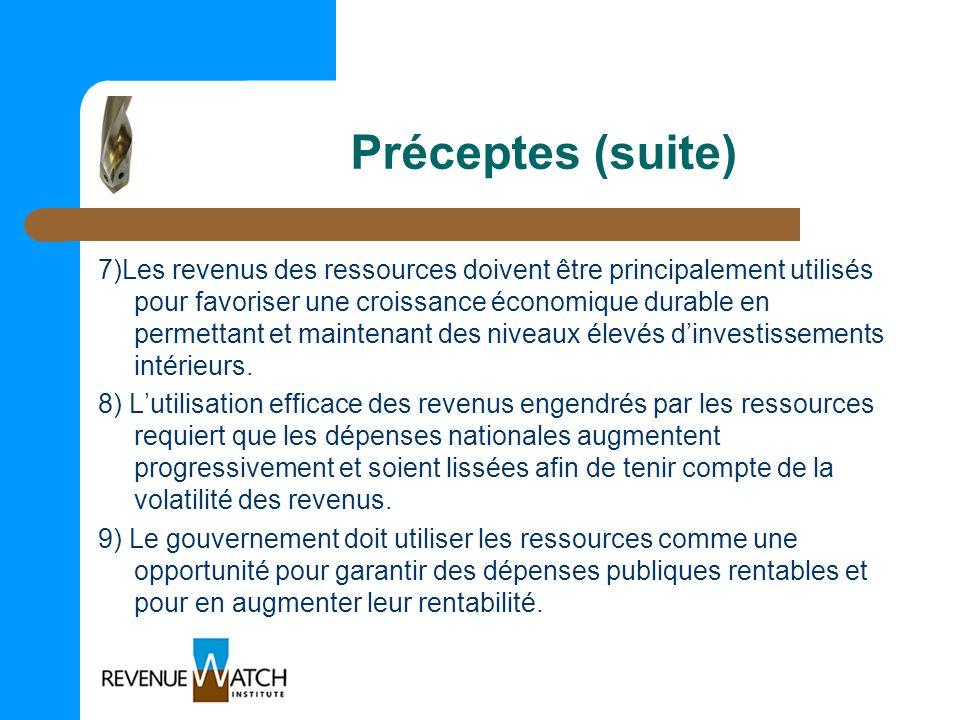 Préceptes (suite) 7)Les revenus des ressources doivent être principalement utilisés pour favoriser une croissance économique durable en permettant et