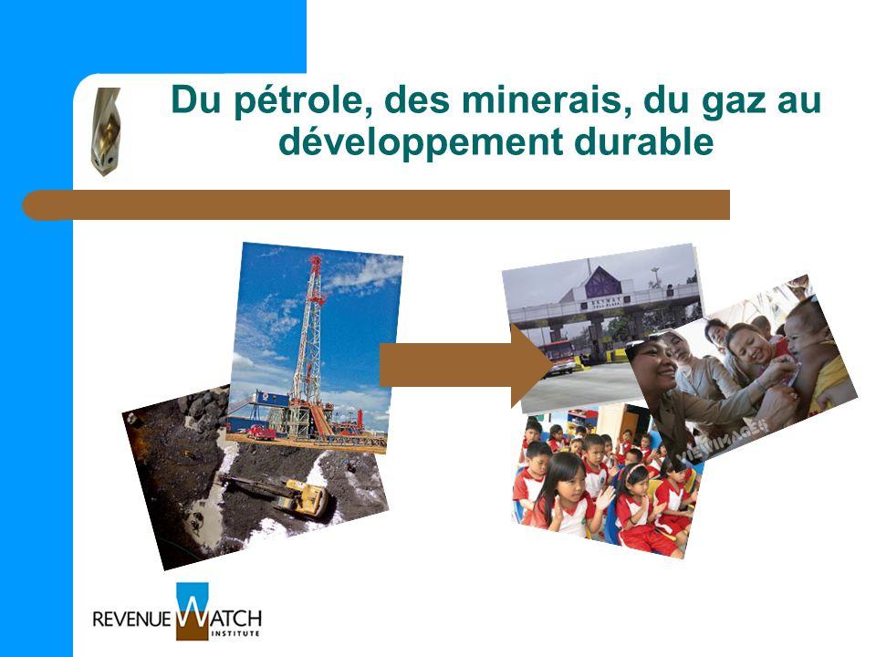 Du pétrole, des minerais, du gaz au développement durable