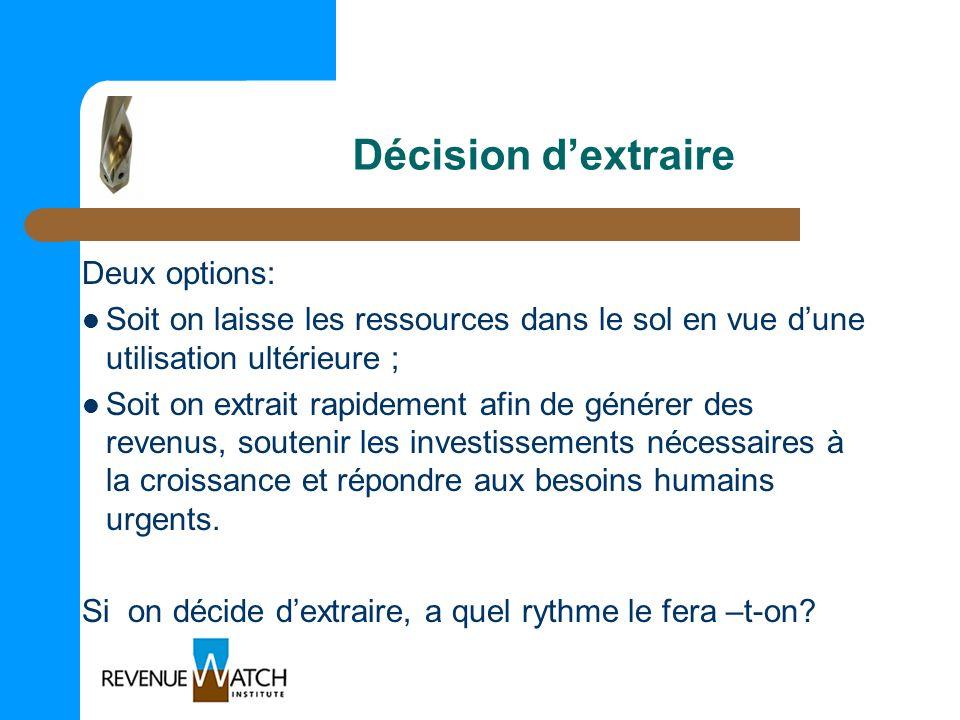 Décision dextraire Deux options: Soit on laisse les ressources dans le sol en vue dune utilisation ultérieure ; Soit on extrait rapidement afin de gén