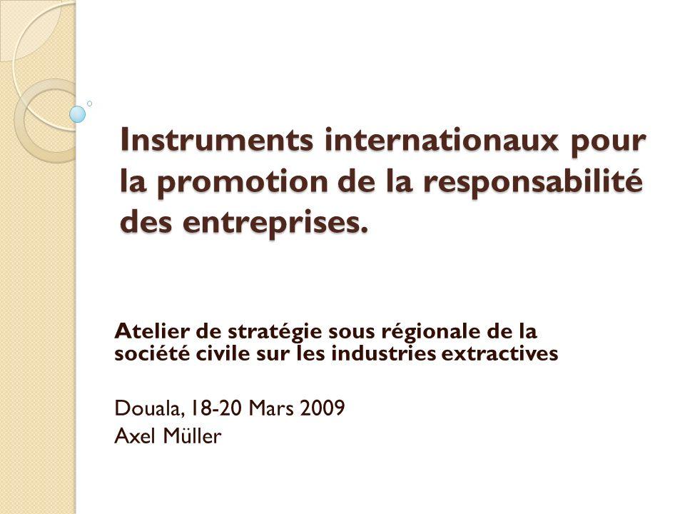 Instruments internationaux pour la promotion de la responsabilité des entreprises. Atelier de stratégie sous régionale de la société civile sur les in