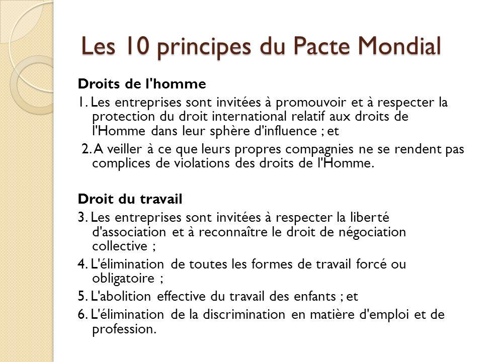 Les 10 principes du Pacte Mondial Droits de l'homme 1. Les entreprises sont invitées à promouvoir et à respecter la protection du droit international