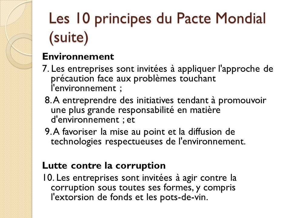 Les 10 principes du Pacte Mondial (suite) Environnement 7. Les entreprises sont invitées à appliquer l'approche de précaution face aux problèmes touch