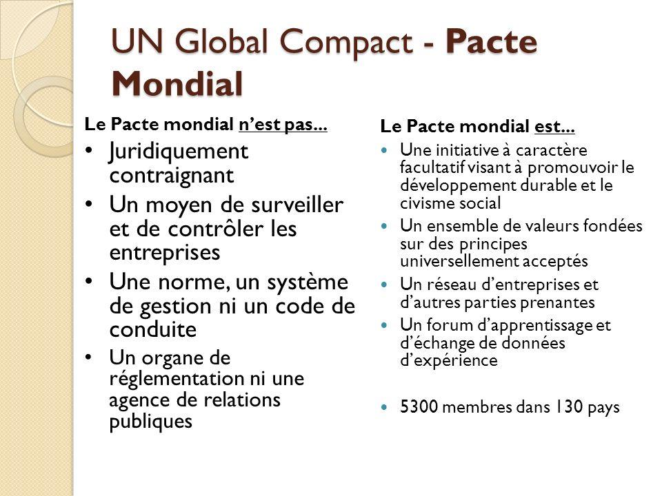 UN Global Compact - Pacte Mondial Le Pacte mondial est... Une initiative à caractère facultatif visant à promouvoir le développement durable et le civ