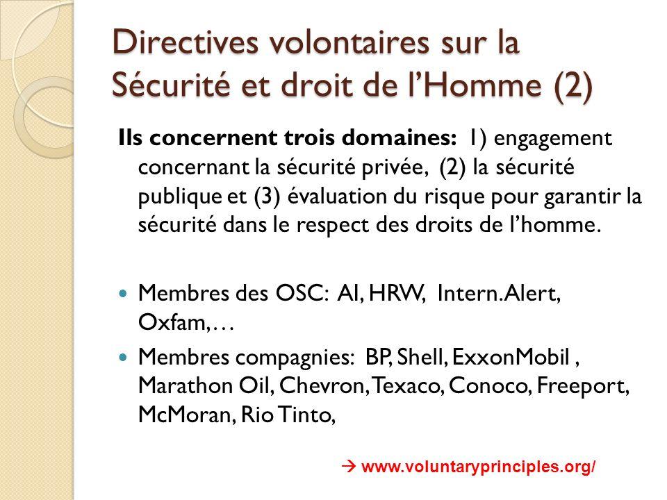 Directives volontaires sur la Sécurité et droit de lHomme (2) Ils concernent trois domaines: 1) engagement concernant la sécurité privée, (2) la sécur