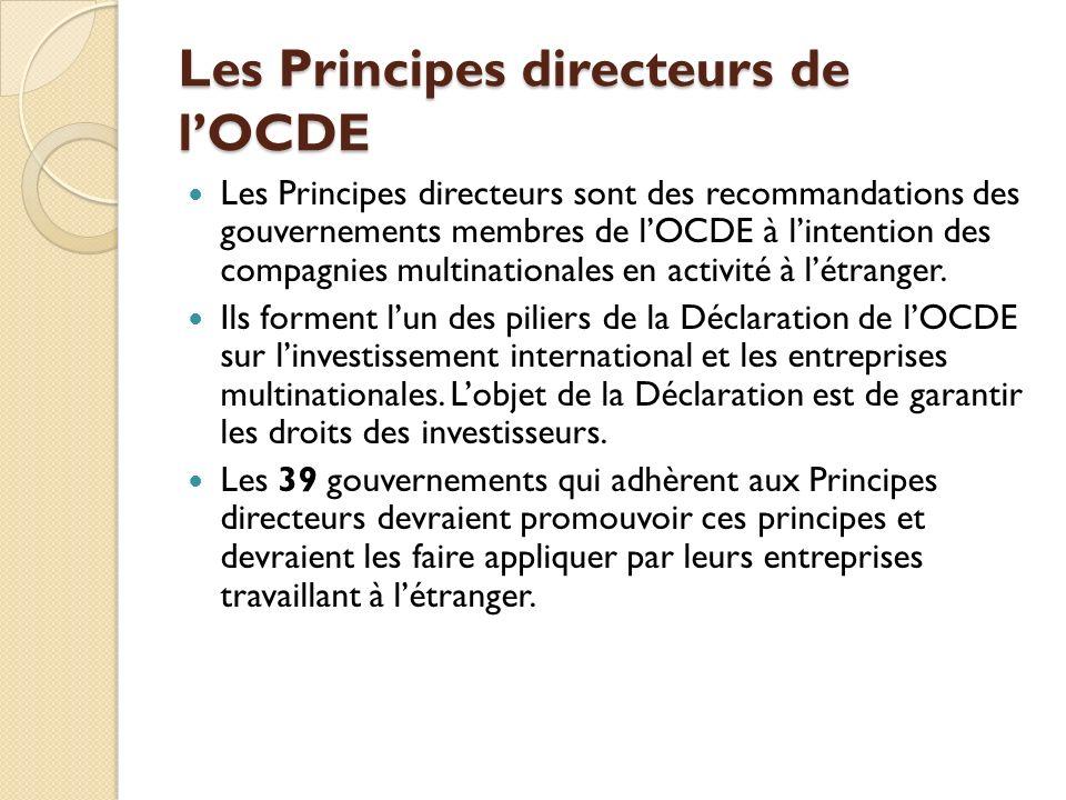 Les Principes directeurs de lOCDE Les Principes directeurs sont des recommandations des gouvernements membres de lOCDE à lintention des compagnies mul