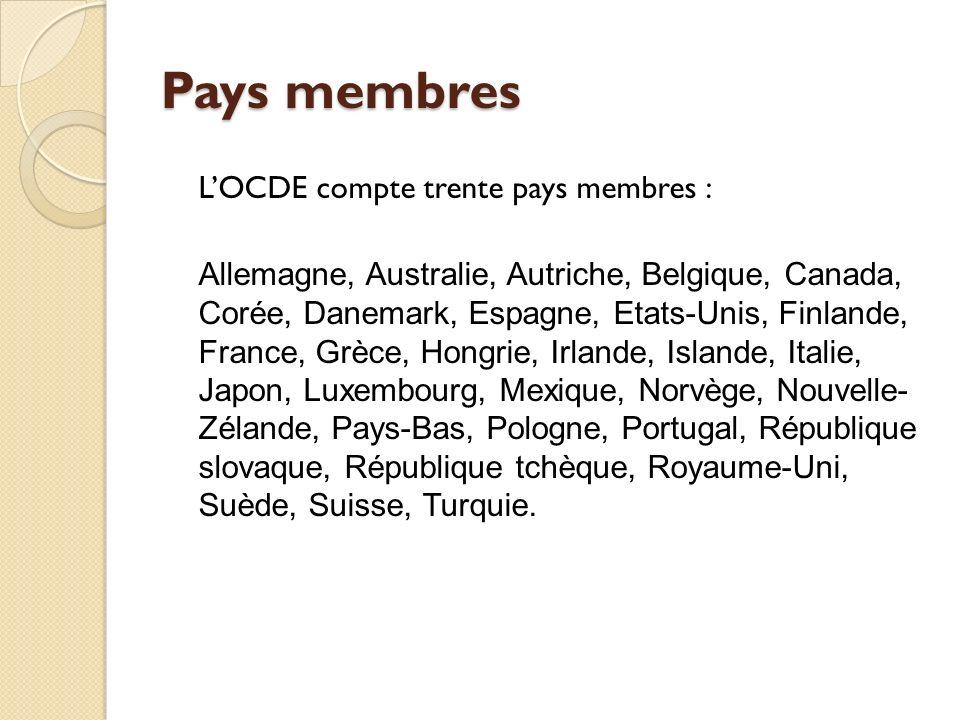 Pays membres LOCDE compte trente pays membres : Allemagne, Australie, Autriche, Belgique, Canada, Corée, Danemark, Espagne, Etats-Unis, Finlande, Fran