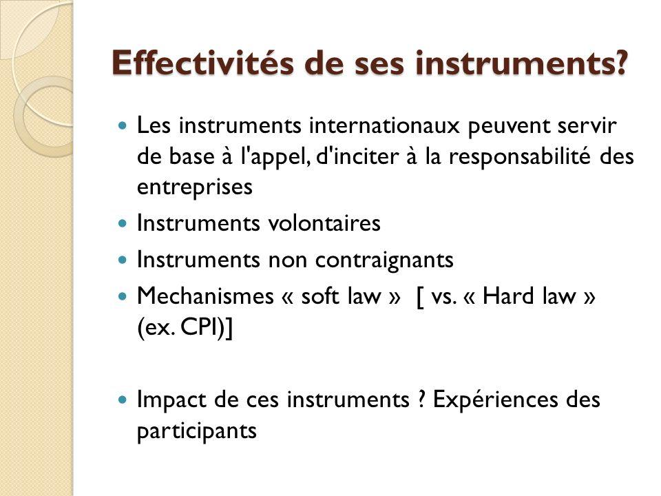 Effectivités de ses instruments? Les instruments internationaux peuvent servir de base à l'appel, d'inciter à la responsabilité des entreprises Instru
