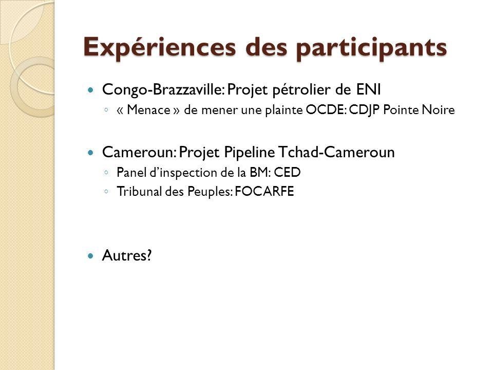Expériences des participants Congo-Brazzaville: Projet pétrolier de ENI « Menace » de mener une plainte OCDE: CDJP Pointe Noire Cameroun: Projet Pipel