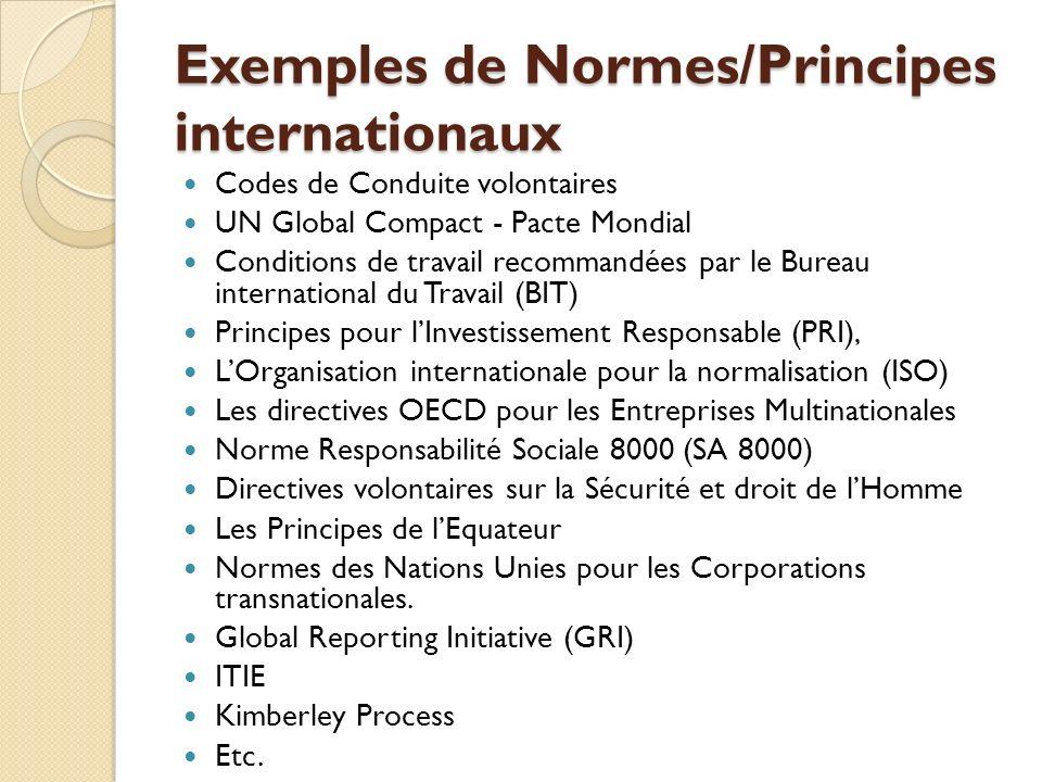 Exemples de Normes/Principes internationaux Codes de Conduite volontaires UN Global Compact - Pacte Mondial Conditions de travail recommandées par le