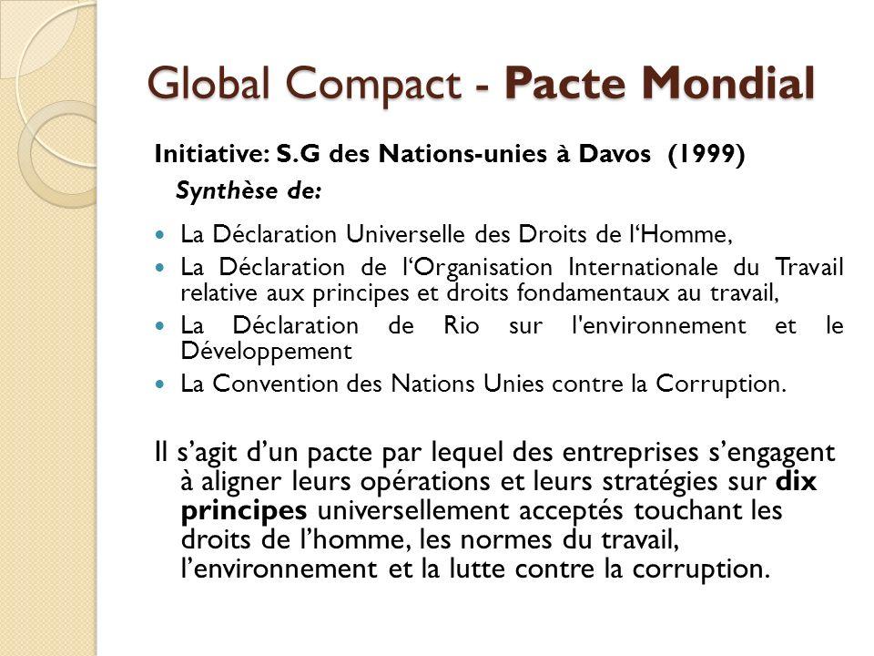 Les 10 principes du Pacte Mondial Droits de l homme 1.