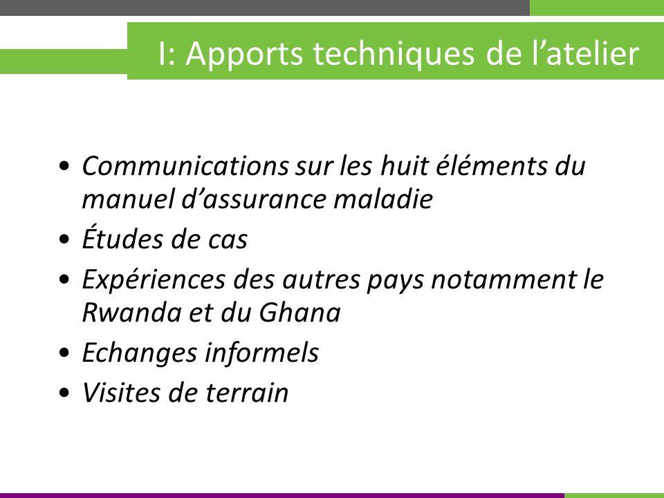 Kigali, Rwanda 30 mai – 4 juin 2010 I: Apports techniques de latelier Communications sur les huit éléments du manuel dassurance maladie Études de cas Expériences des autres pays notamment le Rwanda et du Ghana Echanges informels Visites de terrain