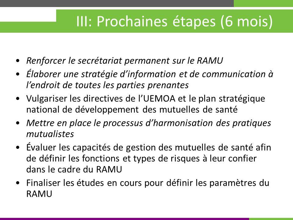 Kigali, Rwanda 30 mai – 4 juin 2010 III: Prochaines étapes (6 mois) Renforcer le secrétariat permanent sur le RAMU Élaborer une stratégie dinformation et de communication à lendroit de toutes les parties prenantes Vulgariser les directives de lUEMOA et le plan stratégique national de développement des mutuelles de santé Mettre en place le processus dharmonisation des pratiques mutualistes Évaluer les capacités de gestion des mutuelles de santé afin de définir les fonctions et types de risques à leur confier dans le cadre du RAMU Finaliser les études en cours pour définir les paramètres du RAMU