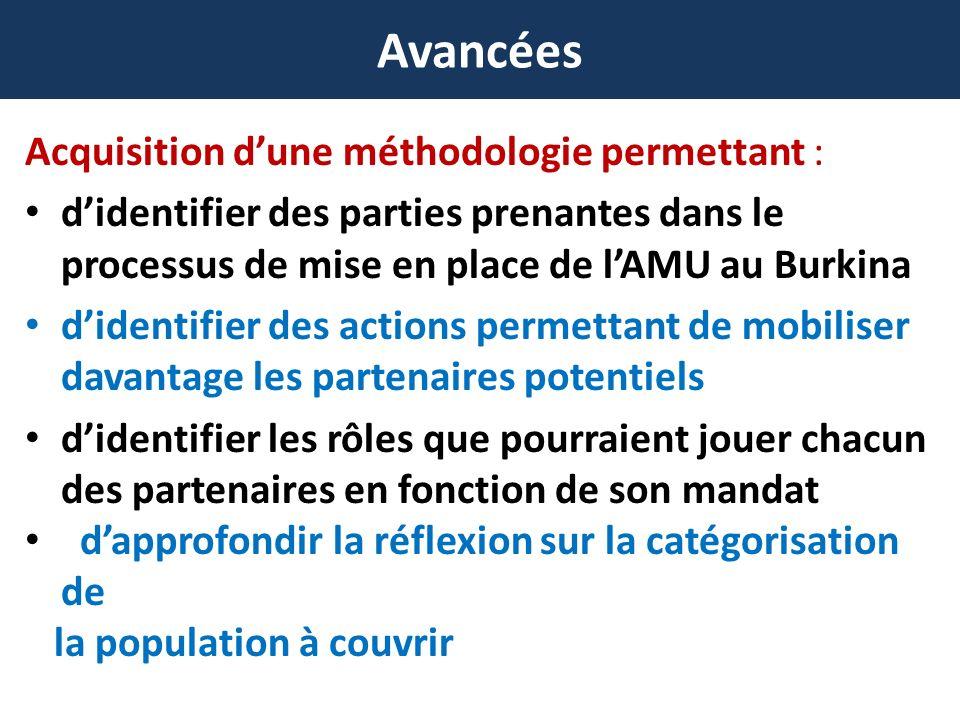 Avancées Acquisition dune méthodologie permettant : didentifier des parties prenantes dans le processus de mise en place de lAMU au Burkina didentifier des actions permettant de mobiliser davantage les partenaires potentiels didentifier les rôles que pourraient jouer chacun des partenaires en fonction de son mandat dapprofondir la réflexion sur la catégorisation de la population à couvrir