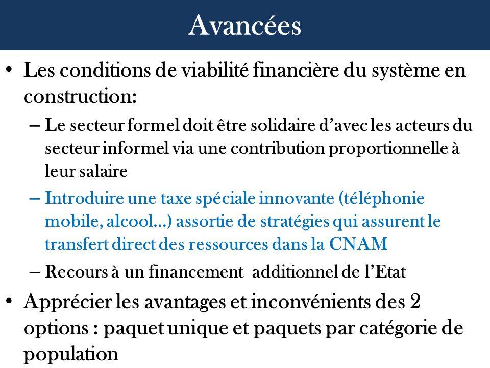 Les conditions de viabilité financière du système en construction: – Le secteur formel doit être solidaire davec les acteurs du secteur informel via u
