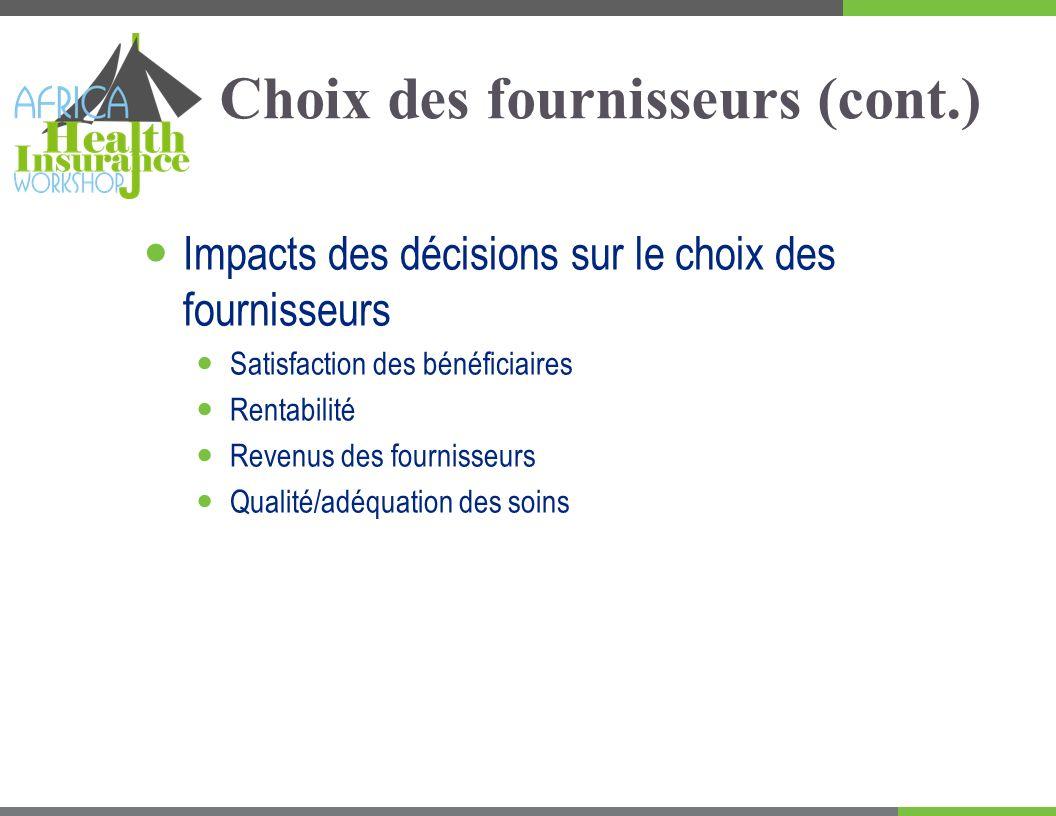 Choix des fournisseurs (cont.) Impacts des décisions sur le choix des fournisseurs Satisfaction des bénéficiaires Rentabilité Revenus des fournisseurs Qualité/adéquation des soins