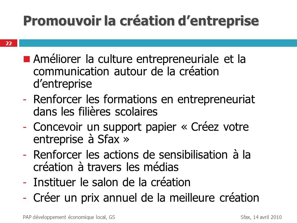 Sfax, 14 avril 2010 PAP développement économique local, GS 22 Promouvoir la création dentreprise Améliorer la culture entrepreneuriale et la communica