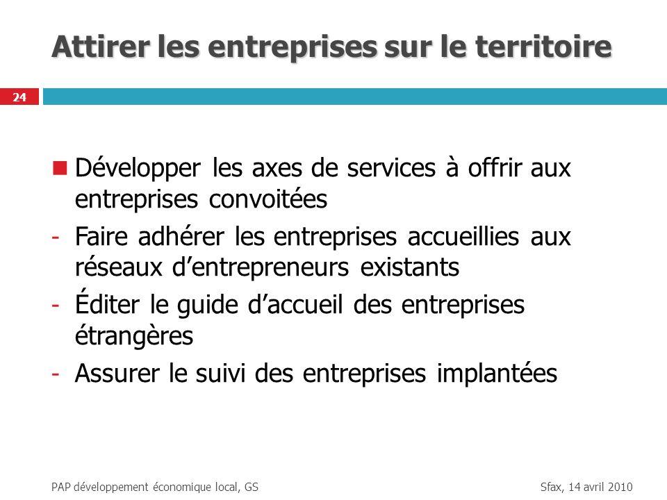 Sfax, 14 avril 2010 PAP développement économique local, GS 24 Attirer les entreprises sur le territoire Développer les axes de services à offrir aux e