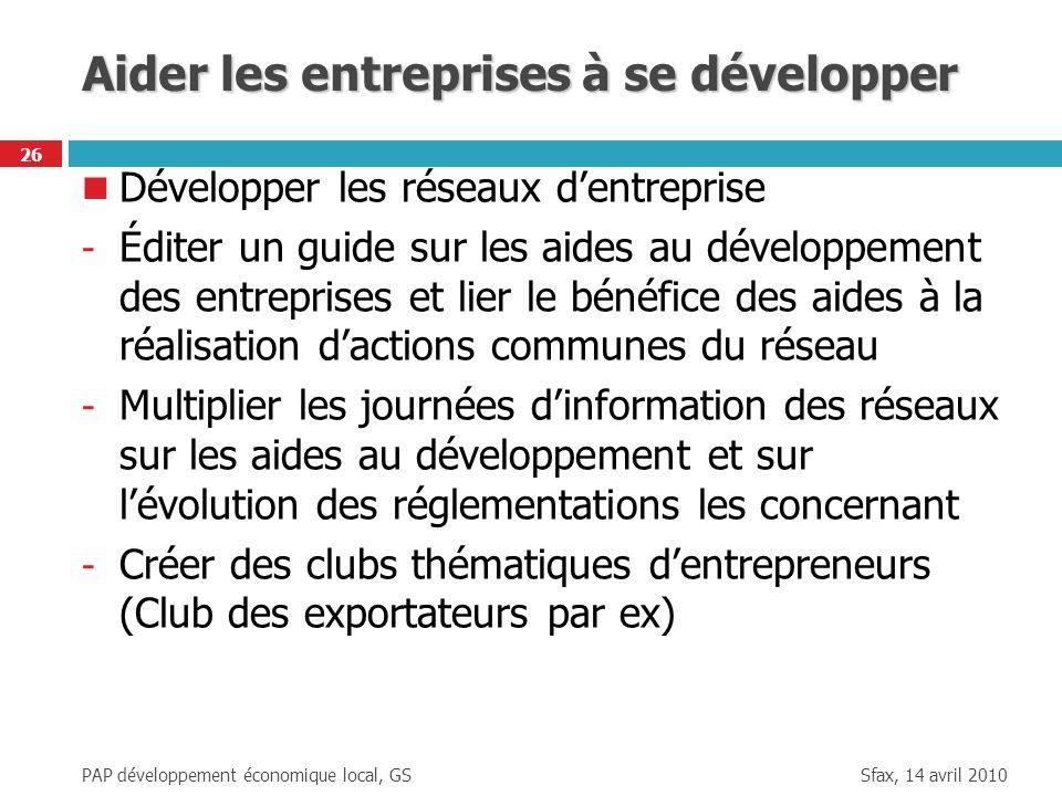 Sfax, 14 avril 2010 PAP développement économique local, GS 26 Aider les entreprises à se développer Développer les réseaux dentreprise - Éditer un gui