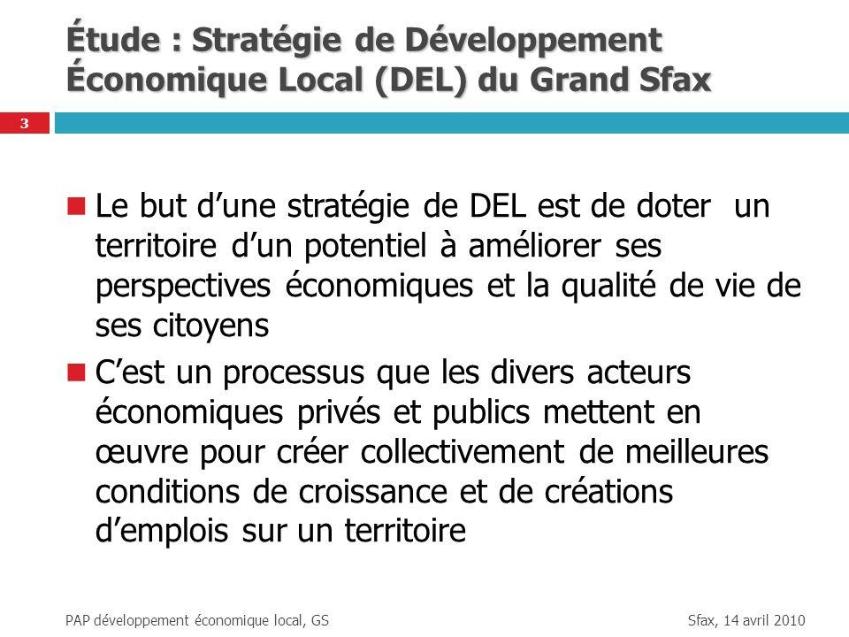 Sfax, 14 avril 2010 PAP développement économique local, GS 4 Étapes de la Stratégie de Développement Économique Local (DEL) du Grand Sfax Étape 1 : lorganisation de leffort, Étape 2 : lévaluation de léconomie locale, Étape 3 : lélaboration de la stratégie, Étape 4 : lexécution de la stratégie, Étape 5 : le suivi de la stratégie.