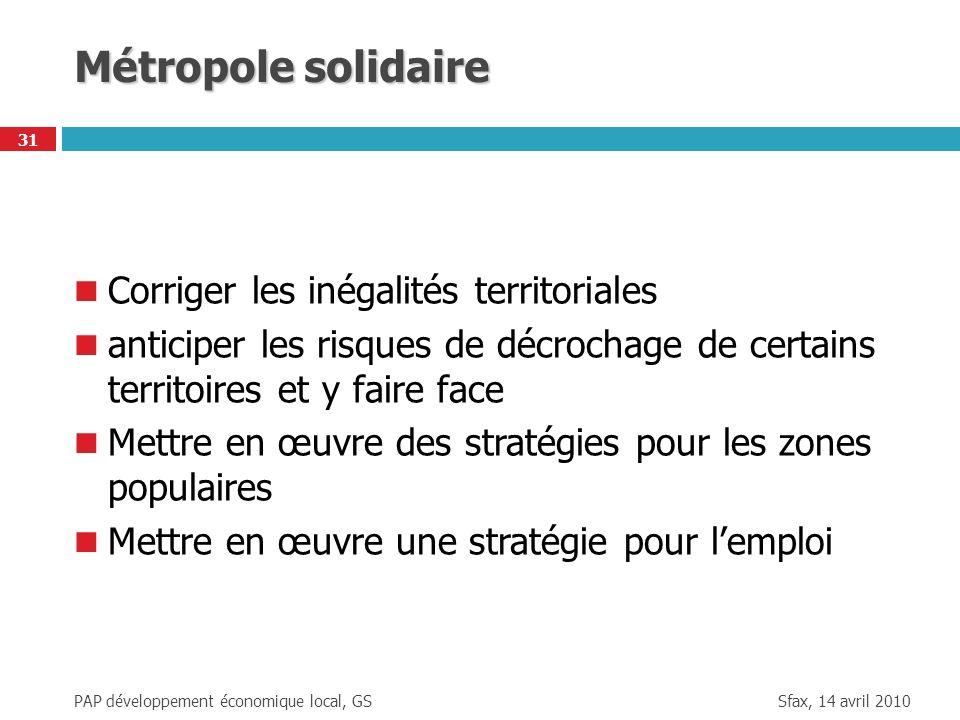 Sfax, 14 avril 2010 PAP développement économique local, GS 31 Métropole solidaire Corriger les inégalités territoriales anticiper les risques de décro