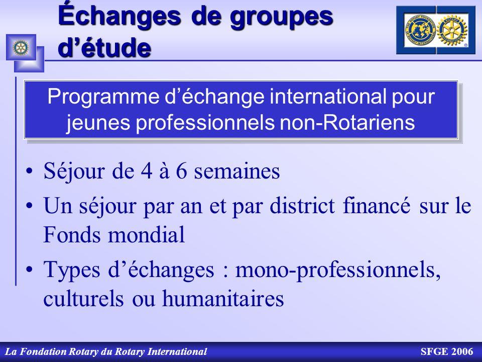 La Fondation Rotary du Rotary InternationalSFGE 2006 Échanges de groupes détude Séjour de 4 à 6 semaines Un séjour par an et par district financé sur
