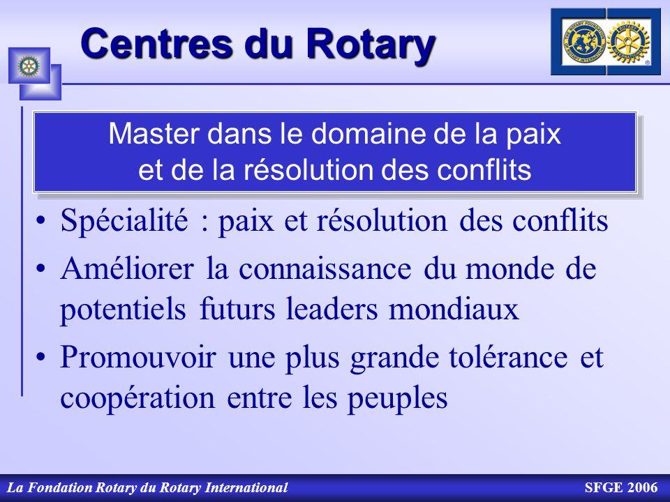 La Fondation Rotary du Rotary InternationalSFGE 2006 Centres du Rotary Spécialité : paix et résolution des conflits Améliorer la connaissance du monde