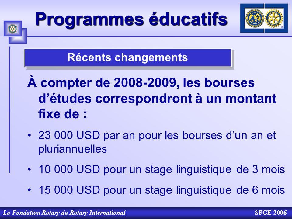 La Fondation Rotary du Rotary InternationalSFGE 2006 Programmes éducatifs Récents changements À compter de 2008-2009, les bourses détudes correspondro