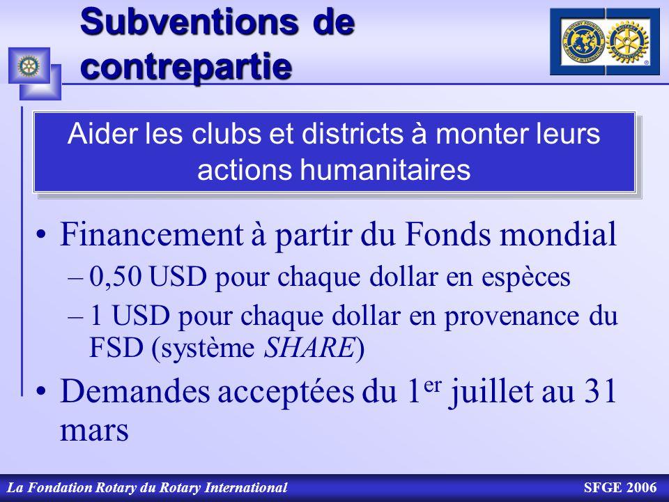 La Fondation Rotary du Rotary InternationalSFGE 2006 Subventions de contrepartie Financement à partir du Fonds mondial –0,50 USD pour chaque dollar en
