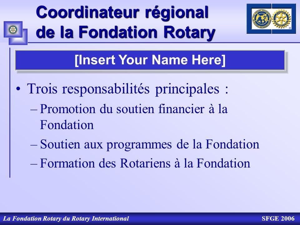 Coordinateur régional de la Fondation Rotary La Fondation Rotary du Rotary InternationalSFGE 2006 Vous pouvez compter sur moi pour… Répondre à vos questions sur la Fondation Vous aider à mettre en place un séminaire Fondation Intervenir lors de toute manifestation en rapport avec la Fondation Vous informer sur la Fondation