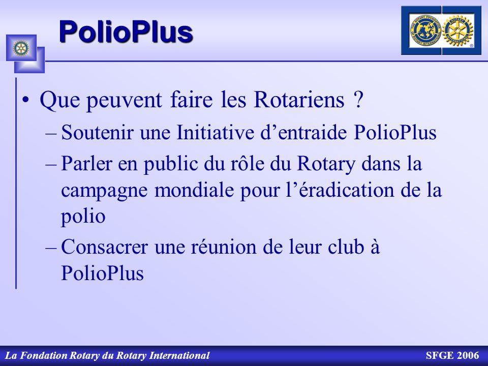 La Fondation Rotary du Rotary InternationalSFGE 2006PolioPlus Que peuvent faire les Rotariens ? –Soutenir une Initiative dentraide PolioPlus –Parler e
