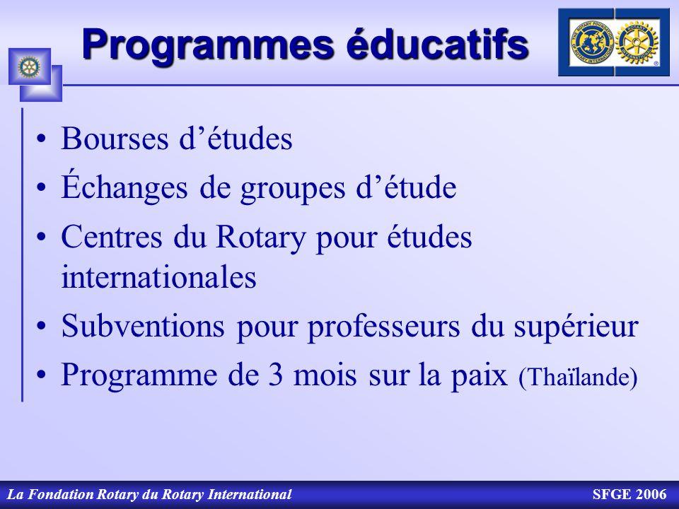 La Fondation Rotary du Rotary InternationalSFGE 2006 Programmes éducatifs Bourses détudes Échanges de groupes détude Centres du Rotary pour études int