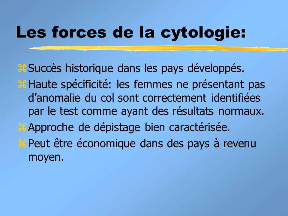 Les forces de la cytologie: z Succès historique dans les pays développés. z Haute spécificité: les femmes ne présentant pas danomalie du col sont corr