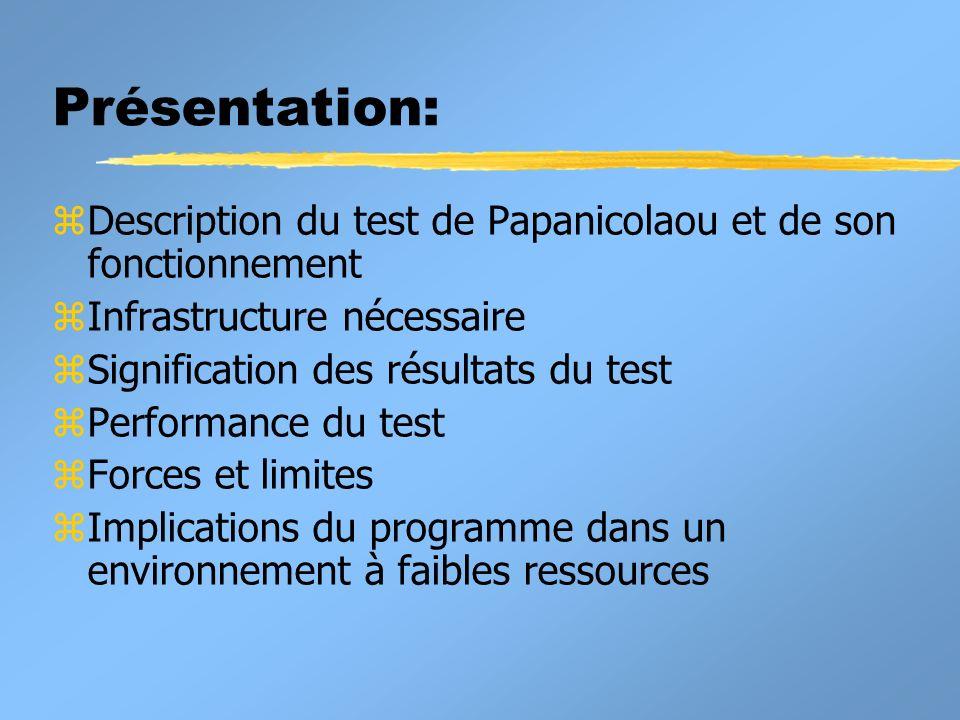 Présentation: z Description du test de Papanicolaou et de son fonctionnement z Infrastructure nécessaire z Signification des résultats du test z Perfo