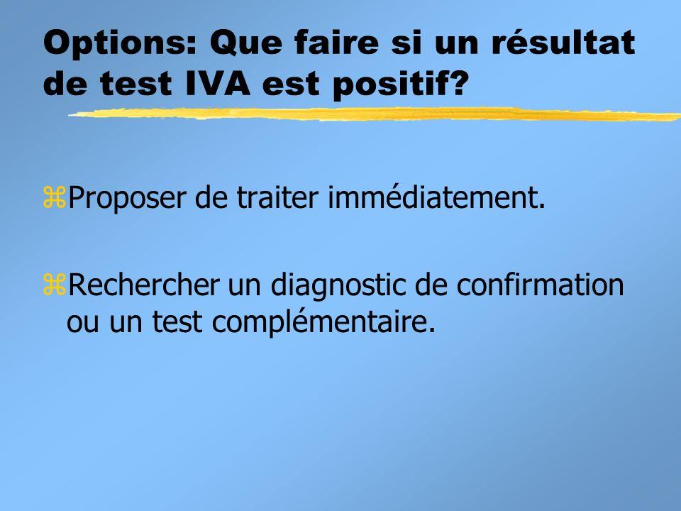 Options: Que faire si un résultat de test IVA est positif.