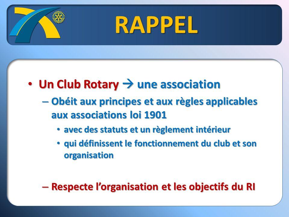 RAPPEL Un Club Rotary une association Un Club Rotary une association – Obéit aux principes et aux règles applicables aux associations loi 1901 avec des statuts et un règlement intérieur avec des statuts et un règlement intérieur qui définissent le fonctionnement du club et son organisation qui définissent le fonctionnement du club et son organisation – Respecte lorganisation et les objectifs du RI