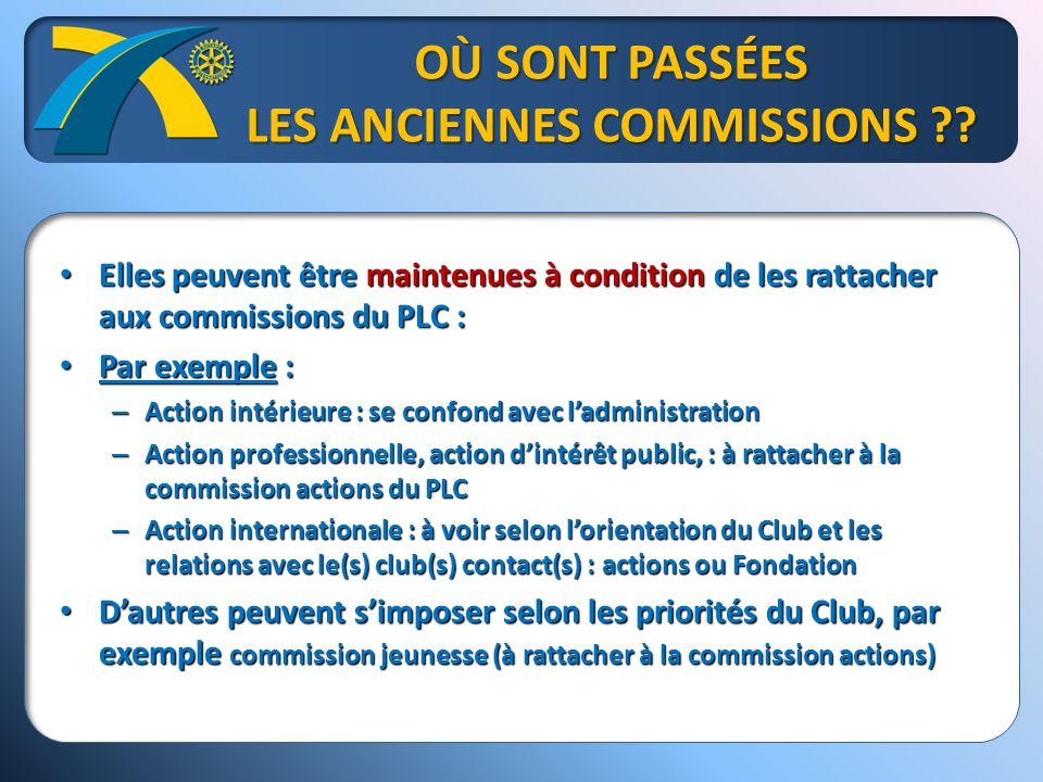 OÙ SONT PASSÉES LES ANCIENNES COMMISSIONS ?.