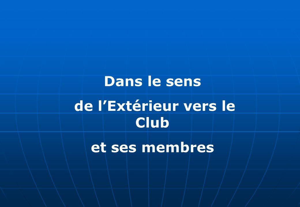 Dans le sens de lExtérieur vers le Club et ses membres