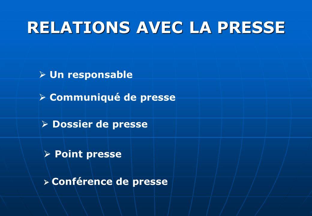 RELATIONS AVEC LA PRESSE Un responsable Communiqué de presse Dossier de presse Point presse Conférence de presse