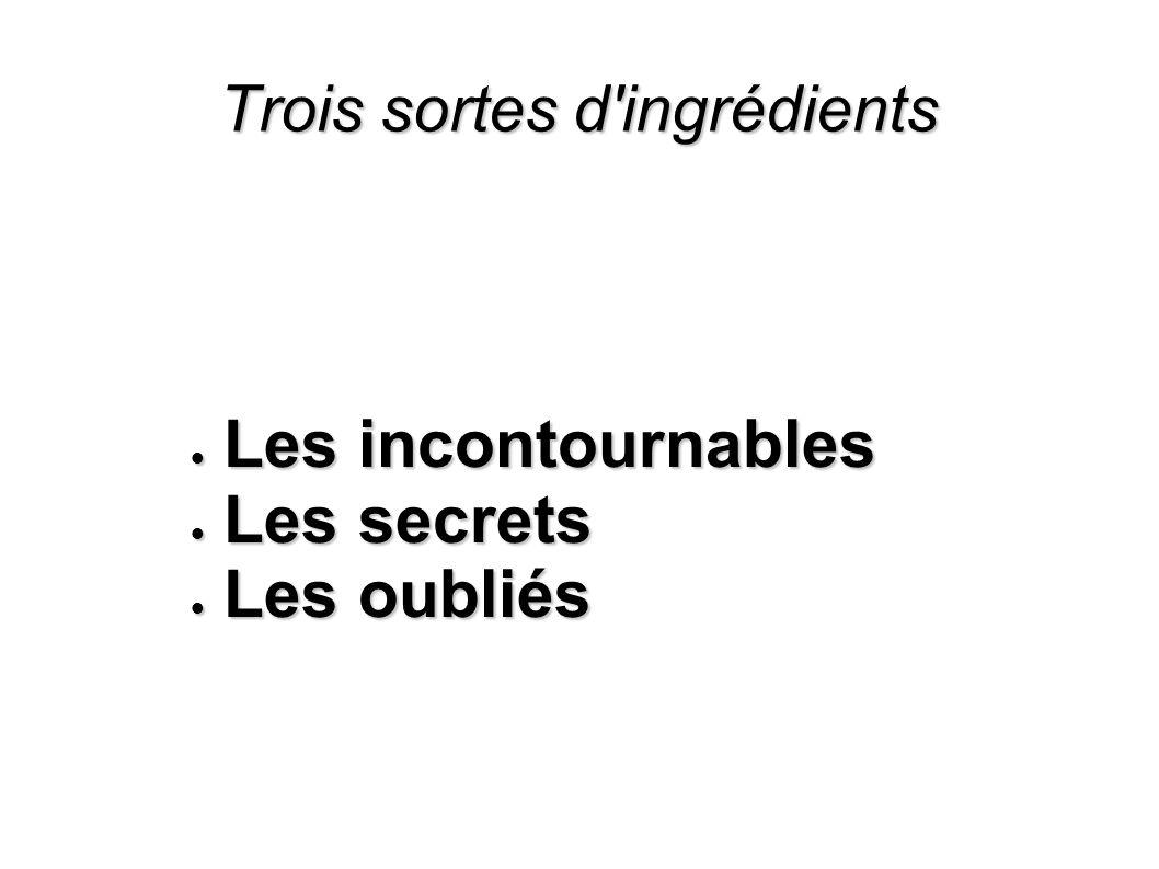 Trois sortes d'ingrédients Les incontournables Les incontournables Les secrets Les secrets Les oubliés Les oubliés