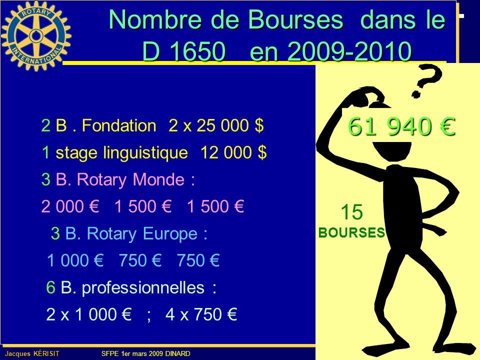 Nombre de Bourses dans le D 1650 en 2009-2010 15 BOURSES 2 B.