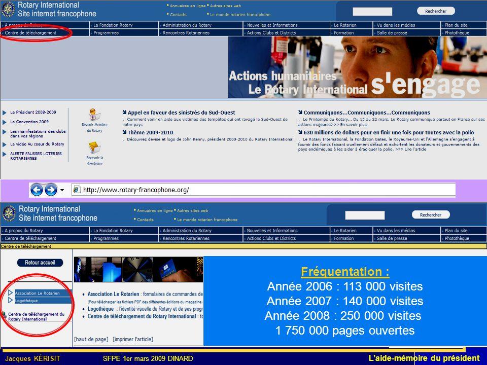 Fréquentation : Année 2006 : 113 000 visites Année 2007 : 140 000 visites Année 2008 : 250 000 visites 1 750 000 pages ouvertes