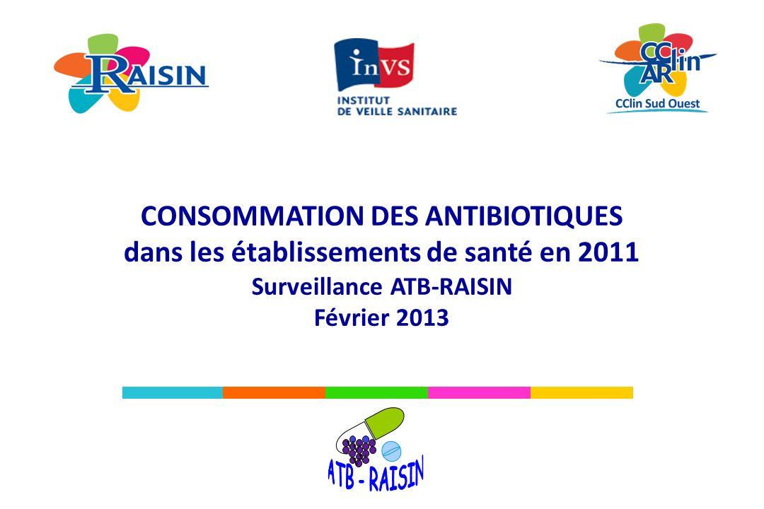 Consommation en antibiotiques ATB-RAISIN, 2011 Résultats Consommation tous antibiotiques confondus (J01+P01AB+J04) en nombre de DDJ/1 000 JH (taux globaux régionaux), tous établissements confondus et proportion des lits couverts par la surveillance (en %) (N= 1 259) Avertissement : cette carte est réalisée à partir de données descriptives provenant d ES volontaires dont les données de consommation sont disponibles.