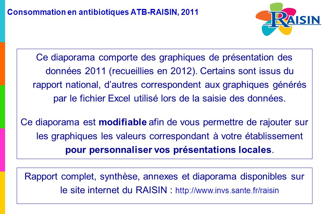 Consommation en antibiotiques ATB-RAISIN, 2011 Résultats Consommation de céphalosporines de 3 ème génération (C3G) en nombre de DDJ/1 000 JH (taux globaux régionaux), pour les CH et les MCO et proportion des lits couverts par la surveillance (en %) (N= 654) Avertissement : cette carte est réalisée à partir de données descriptives provenant d ES volontaires dont les données de consommation sont disponibles.