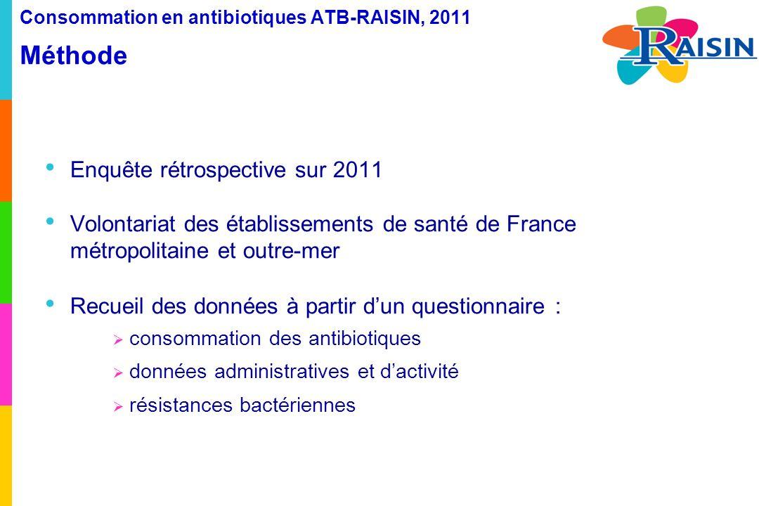 Consommation en antibiotiques ATB-RAISIN, 2011 Méthode Antibiotiques à visée systémique classification ATC J01 + rifampicine (J04AB02) + imidazolés per os (P01AB) dispensés par la Pharmacie à Usage Intérieur (PUI) en 2011 en hospitalisation complète sur lensemble de létablissement dans chacun des secteurs dactivité (optionnel) exclusion : rétrocession, hospitalisation de jour et de nuit, séances, hébergement, unités de consultations et de soins ambulatoires (UCSA) Etablissements exclus : hospitalisation à domicile (HAD), Maison d enfant à caractère sanitaire spécialisé (MECSS), centres de dialyse, établissements dhébergement de personnes âgées dépendantes (EHPAD) Analyse en nombre de Doses Définies Journalières (DDJ, unité définie par lOMS www.whocc.no/) www.whocc.no/ pour 1000 journées dhospitalisation et pour 100 admissions en court séjour (nouveauté 2011) présentation des taux globaux et des distributions (médianes et percentiles)